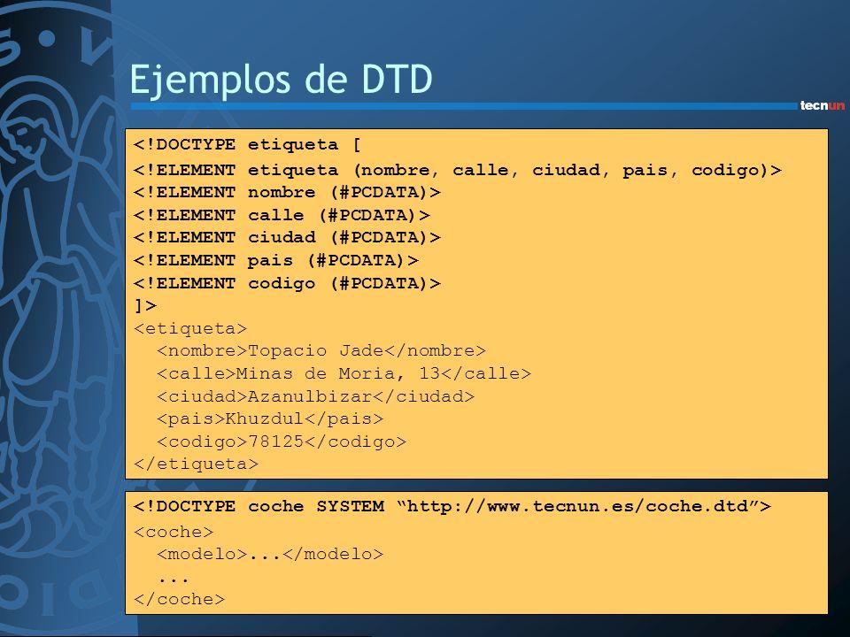 Ejemplos de DTD <!DOCTYPE etiqueta [